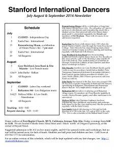 Stanford International Folk Dancers July-September Nersleter