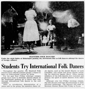 Stanford Folk Dancers' summer evenings in the 1960